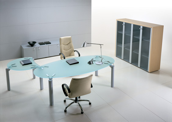 Mobilier bureau le bureau direction neuf for Table de bureau en verre